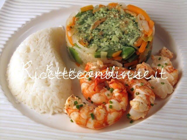 Gamberoni con verdure e riso basmati di Manlio Midori