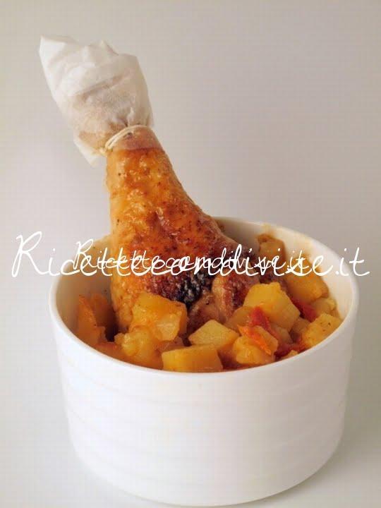 Particolare fusi di pollo alla paprika con patate e pomodorini di Manlio Midori