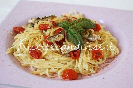 Ricetta Linguine con alici, bottarga e ciliegino semisecco Agromonte di Dany – Ideericette