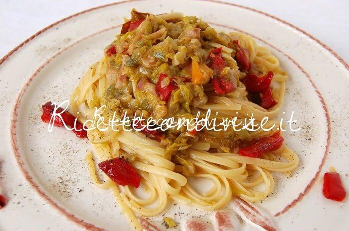 Linguine alternative alle 3P (porro pancetta e peperoni) di Dany - Idericette