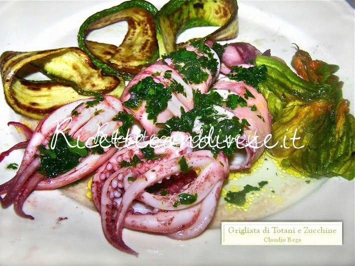 Grigliata di totani e zucchine di Claudio Rega