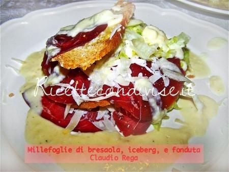 Ricetta millefoglie di bresaola nappato con fonduta di Claudio Rega