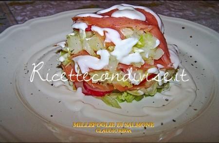 Ricetta Millefoglie di salmone patate e insalata mista di Claudio Rega