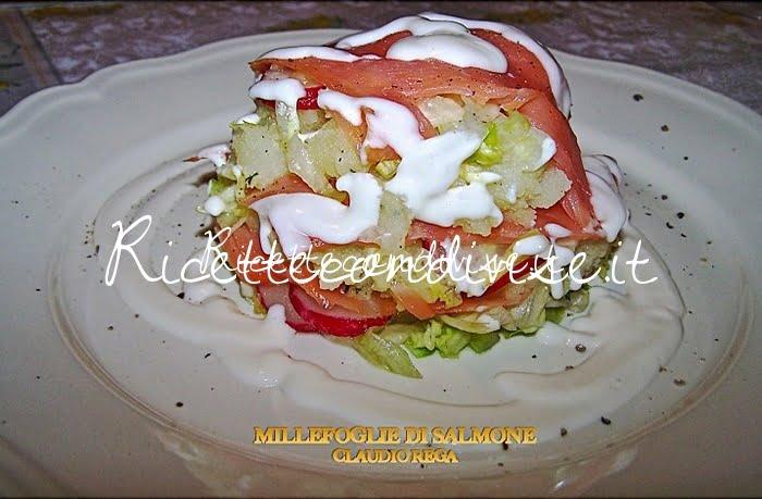 Millefoglie di salmone patate e insalata di Claudio Rega