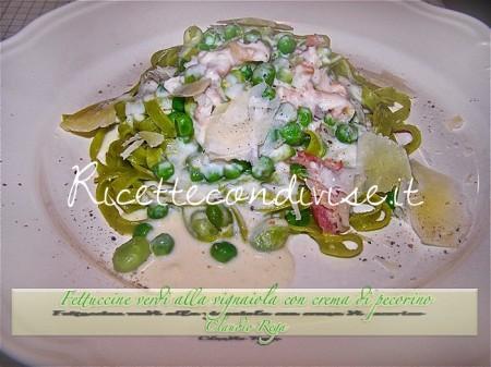 Ricetta Fettuccine verdi alla vignaiola con crema di pecorino di Claudio Rega