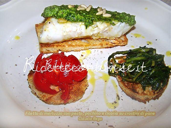 Crostini con filetto di merluzzo e pesto, pachino e cicoria di Claudio Rega