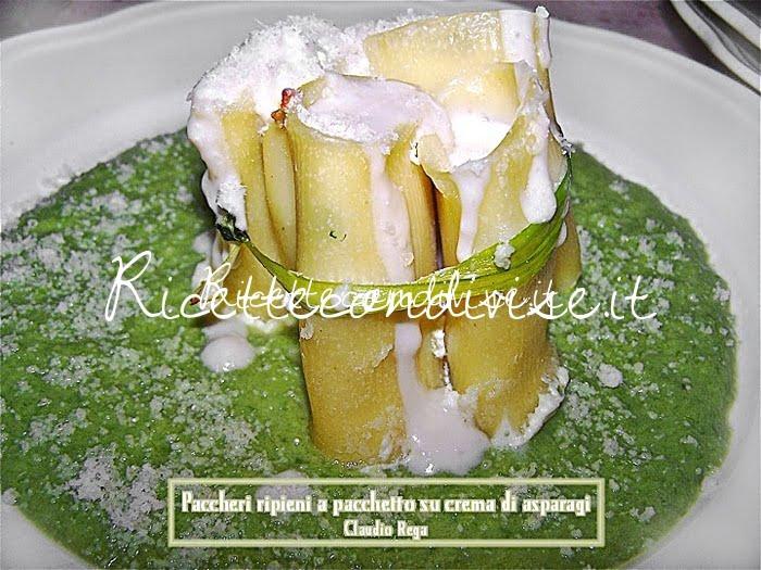Paccheri ripieni a pacchetto su crema di asparagi di Claudio Rega