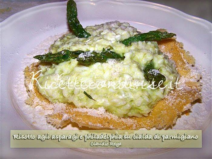 Risotto agli asparagi e philadelphia su cialda di parmigiano di Claudio Rega