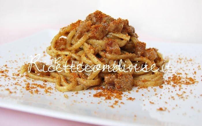Linguine con pancetta, ultrasalsa funghi porcino cipolle e menta con pangrattato tostato di Dany - Ideericette