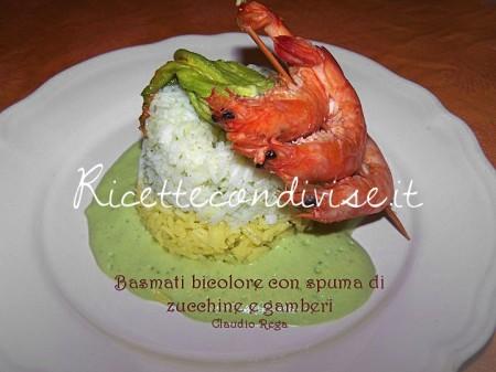Basmati-bicolore-con-spuma-di-zucchine-e-gamberi-di-Caludio-Rega-450x337