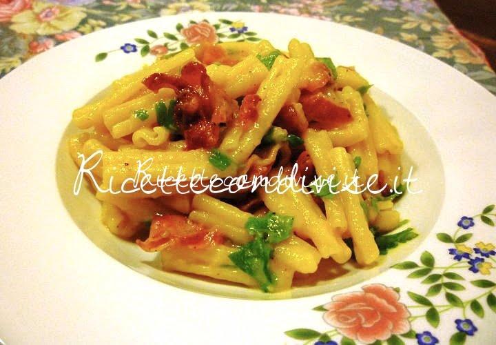 Casarecce alla crema di peperoni con pancetta croccante di Susì