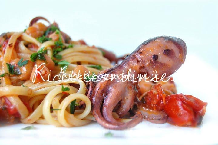 Particolare linguine ceci, moscardini e pomodorini di Giovanna
