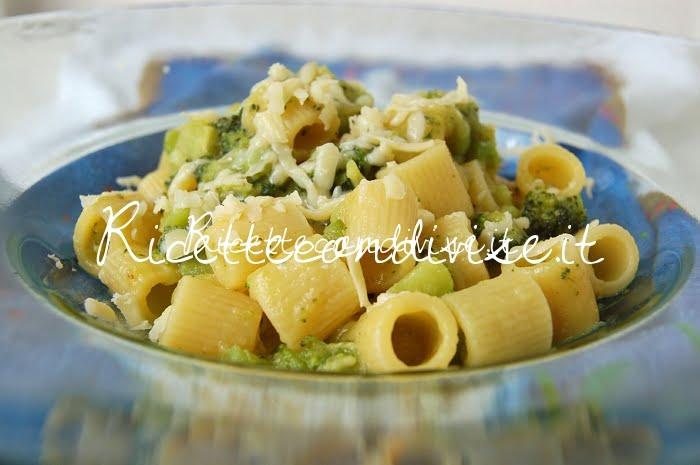 Particolare Mezzi Rigatoni con broccoli, crema di zucca cinese allo zafferano e scaglie di Cheddar di Dany - Ideericette