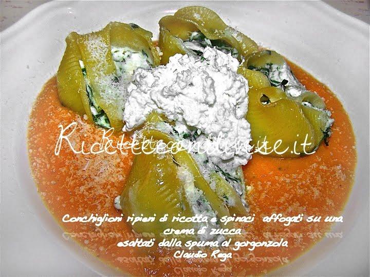 Conchiglioni ripieni di ricotta e spinaci su una crema di zucca esaltati dalla spuma al gorgonzola di Claudio Rega