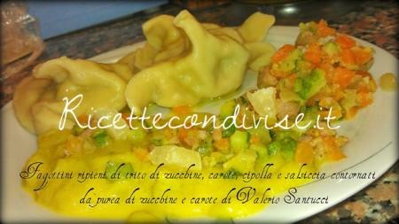 Fagottini ripieni di trito di zucchine, carote, cipolla e salsiccia con contorno di purea di zucchine e carote di Valerio Santucci