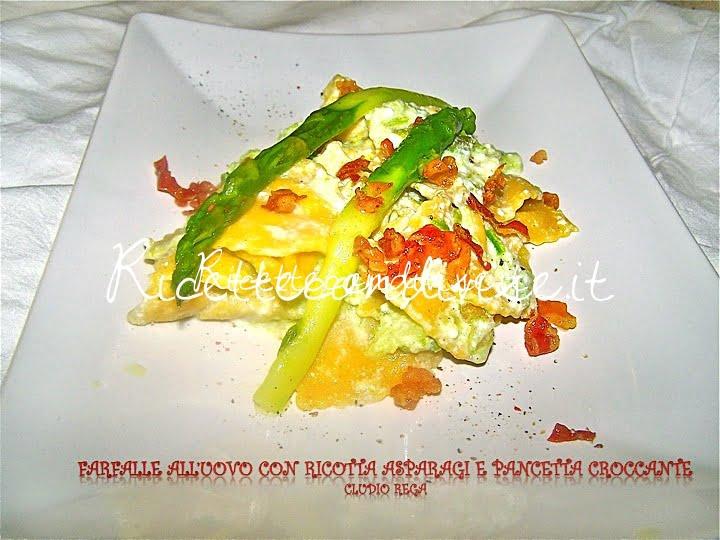 Farfalle all'uovo con ricotta asparagi e pancetta croccante di Claudio Rega
