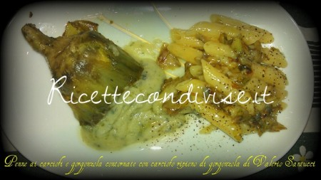 Penne-ai-carciofi-e-gorgonzola-contornate-con-carciofo-ripieno-di-gorgonzola-di-Valerio-Santucci-2-450x253
