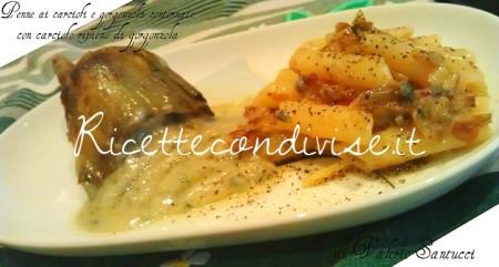 Primo-piano-penne-ai-carciofi-e-gorgonzola-contornate-con-carciofo-ripieno-di-gorgonzola-di-Valerio-Santucci-450x241
