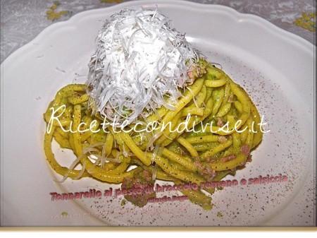 Ricetta Tonnarello al pesto di broccolo romano e salsiccia di Claudio Rega