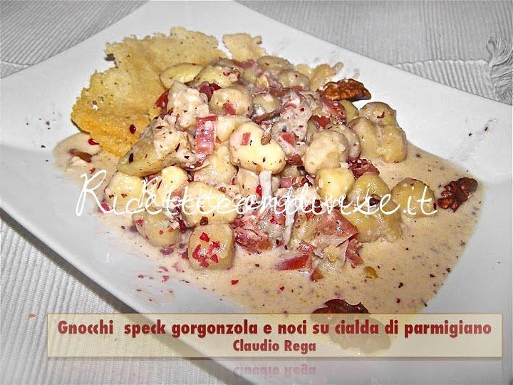 Gnocchi speck, gorgonzola e noci su cialda di parmigiano di Claudio Rega