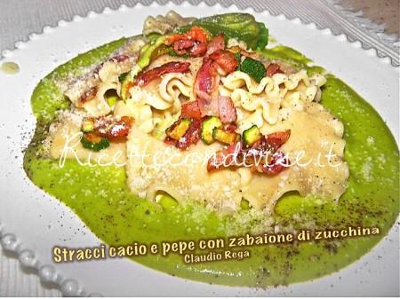 Ricetta Stracci di pasta cacio e pepe con zabaione di zucchine di Claudio Rega