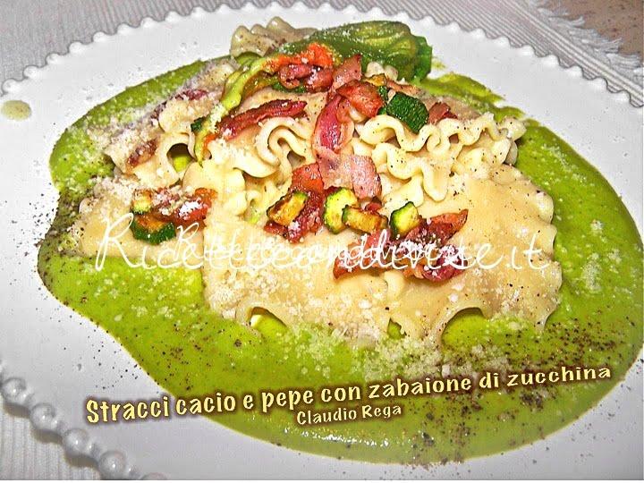 Stracci cacio e pepe con zabaione di zucchina di Claudio Rega
