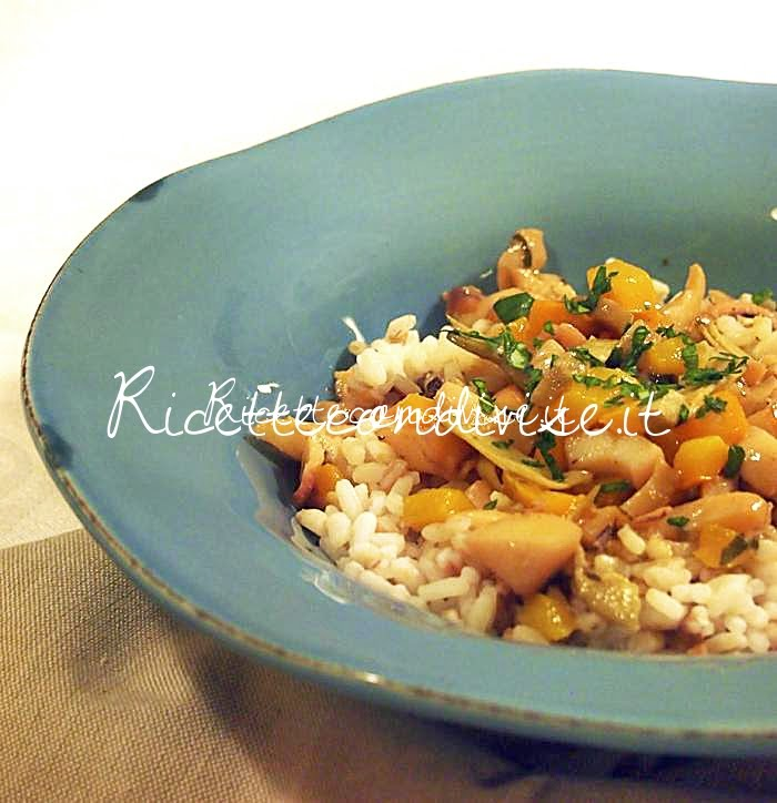 Primo piano insalata di cereali con seppie, carciofi e peperone di Marco di Una cucina per Chiama