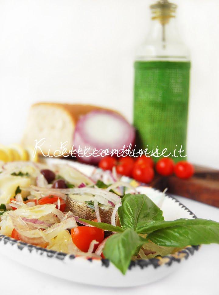Primo piano insalata estiva di baccalà di Giovanna