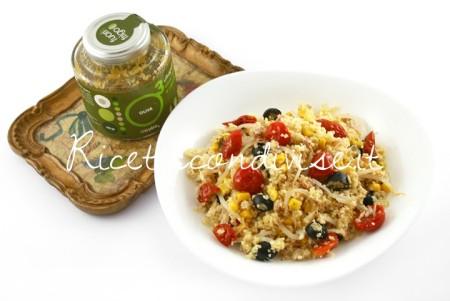 Ricetta Cous cous vegetariano con ciliegini semisecchi Agromonte e patè olive verdi e cipolle alcubo3 di Dany – Ideericette