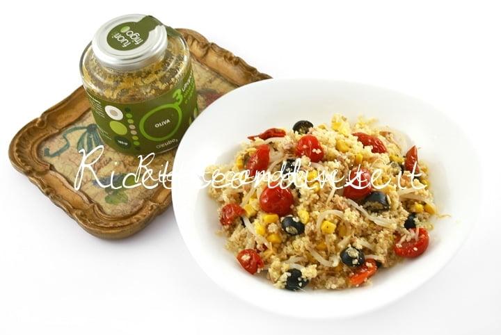 Cous cous vegetariano con ciliegini semisecchi Agromonte e patè olive verdi e cipolle alcubo3 di Dany - Ideericette