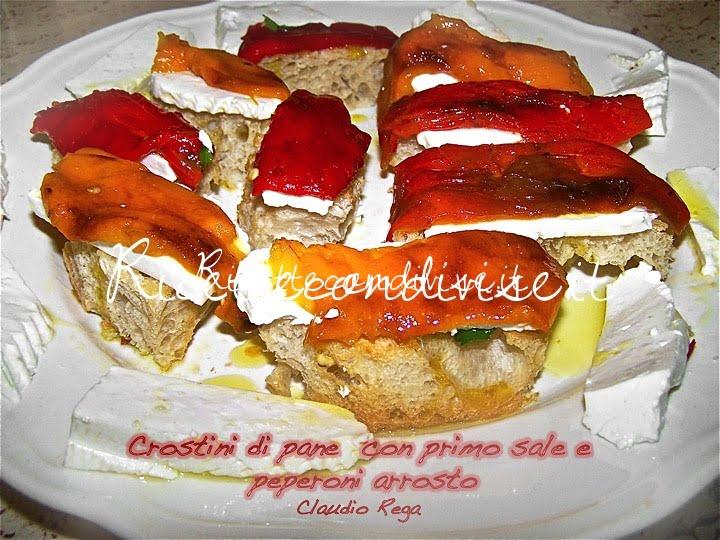 Crostini di pane con primo sale e peperoni arrosto di Claudio Rega