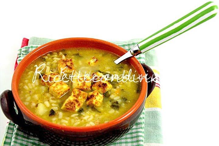 Minestra ai 3 cereali con tris di verdure, patate e tofu di Viola Emi