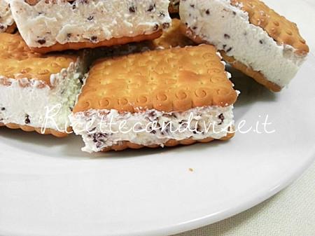 Primo piano biscotto gelato alla stracciatella di Teresa Mastandrea
