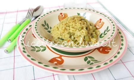 Risotto con piselli, zucchine e fior di zucca di Giovanna