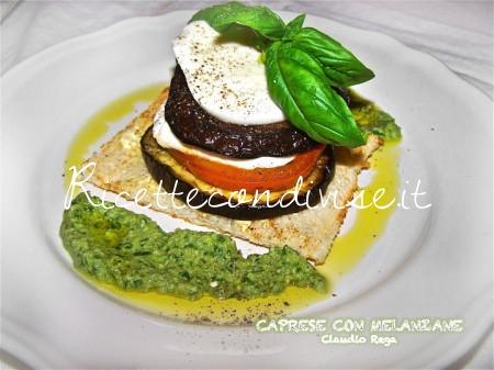 Caprese con melanzane e salsa al basilico di Claudio Rega