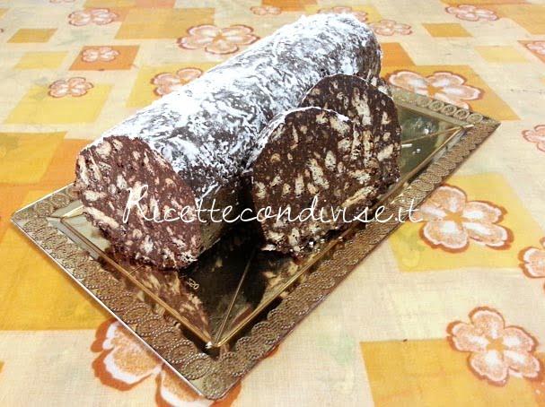 ricetta salame di cioccolato (senza uova) di teresa mastandrea