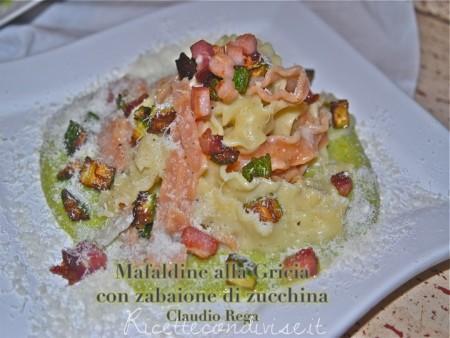 Ricetta mafaldine alla gricia con zabaione di zucchina di Claudio Rega