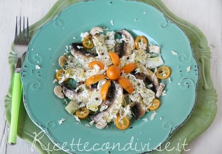ricetta insalata sfiziosa con casutin occelli, finocchi, funghi champignon  e kumquat di dany – ideericette