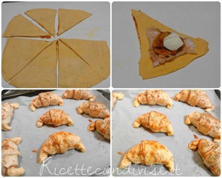 Collage preparazione cornetti-pizza