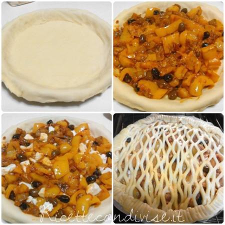 Collage preparazione torta salata di verdure