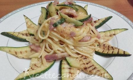 Linguine alla carbonara con zucchine grigliate e pancetta di Franco Graziano