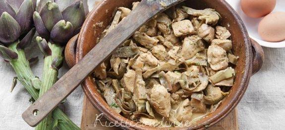Fricassea di pollo e carciofi