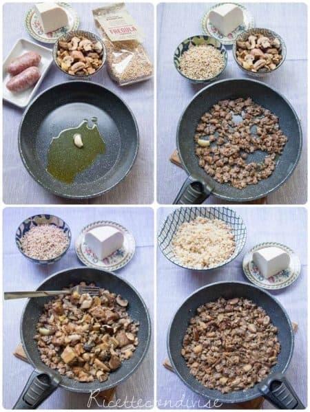 Collage-preparazione-insalata-di-fregola-con-funghi-salsiccia-e-ricotta-salata-450x599